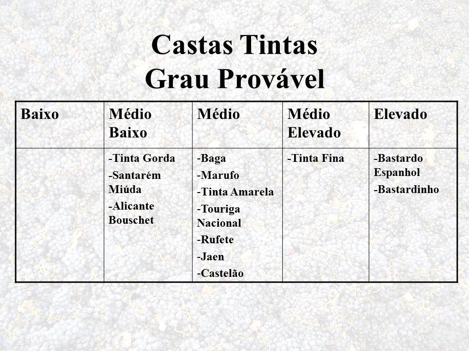 Castas Tintas Grau Provável BaixoMédio Baixo MédioMédio Elevado Elevado -Tinta Gorda -Santarém Miúda -Alicante Bouschet -Baga -Marufo -Tinta Amarela -