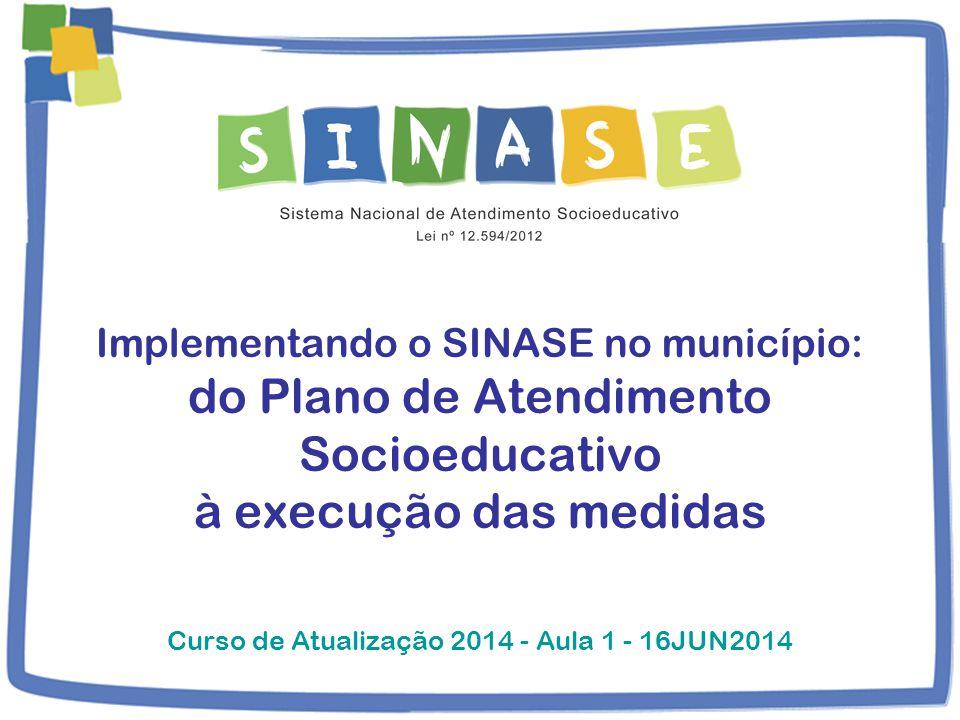 Implementando o SINASE no município: do Plano de Atendimento Socioeducativo à execução das medidas Curso de Atualização 2014 - Aula 1 - 16JUN2014