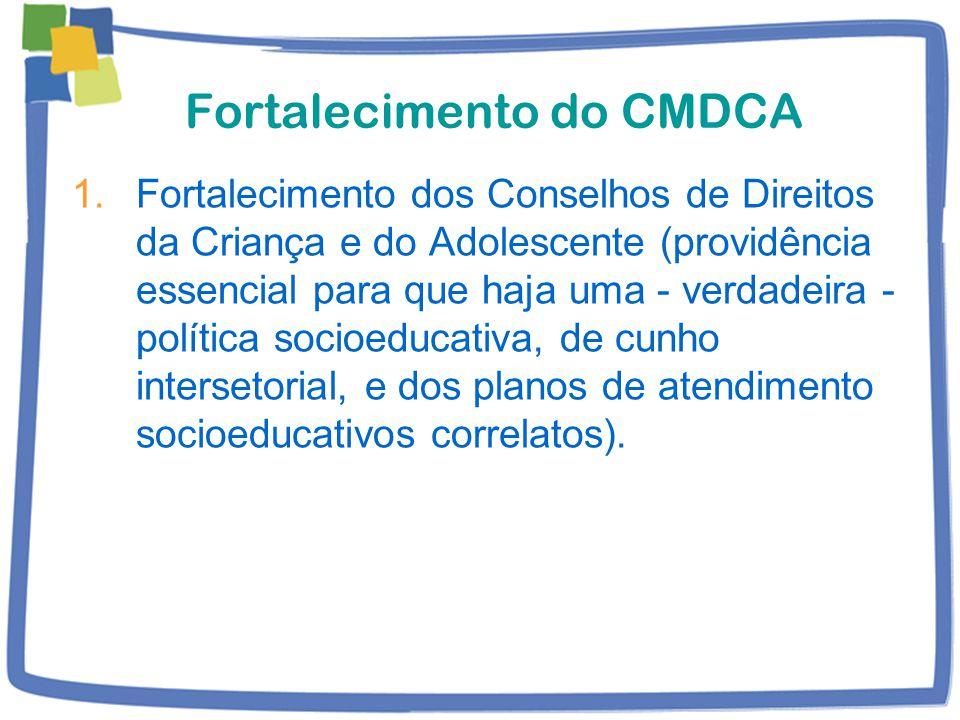 Fortalecimento do CMDCA 1.Fortalecimento dos Conselhos de Direitos da Criança e do Adolescente (providência essencial para que haja uma - verdadeira - política socioeducativa, de cunho intersetorial, e dos planos de atendimento socioeducativos correlatos).