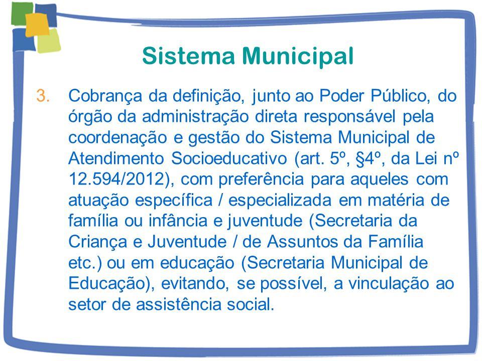 Sistema Municipal 3.Cobrança da definição, junto ao Poder Público, do órgão da administração direta responsável pela coordenação e gestão do Sistema Municipal de Atendimento Socioeducativo (art.