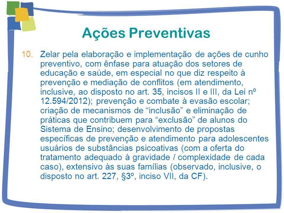 Ações Preventivas 10.Zelar pela elaboração e implementação de ações de cunho preventivo, com ênfase para atuação dos setores de educação e saúde, em especial no que diz respeito à prevenção e mediação de conflitos (em atendimento, inclusive, ao disposto no art.