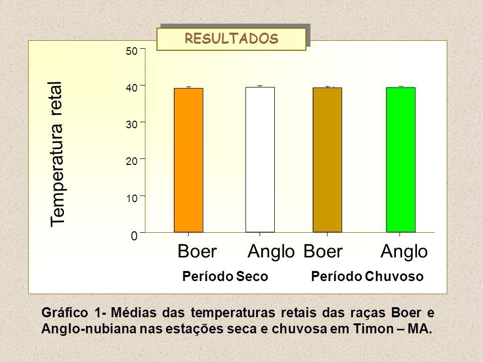Gráfico 1- Médias das temperaturas retais das raças Boer e Anglo-nubiana nas estações seca e chuvosa em Timon – MA. Temperatura retal BoerAngloBoerAng