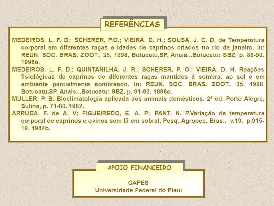 MEDEIROS, L. F. D.; SCHERER, P.O.; VIEIRA, D. H.; SOUSA, J. C. D. de Temperatura corporal em diferentes raças e idades de caprinos criados no rio de j