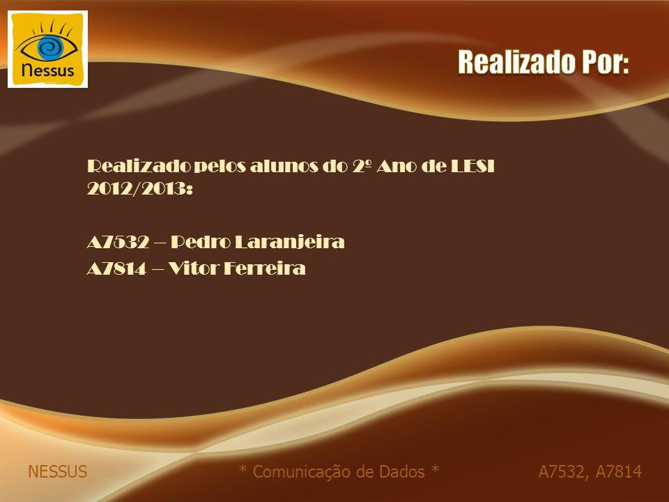 Realizado pelos alunos do 2º Ano de LESI 2012/2013: A7532 – Pedro Laranjeira A7814 – Vitor Ferreira NESSUS * Comunicação de Dados * A7532, A7814