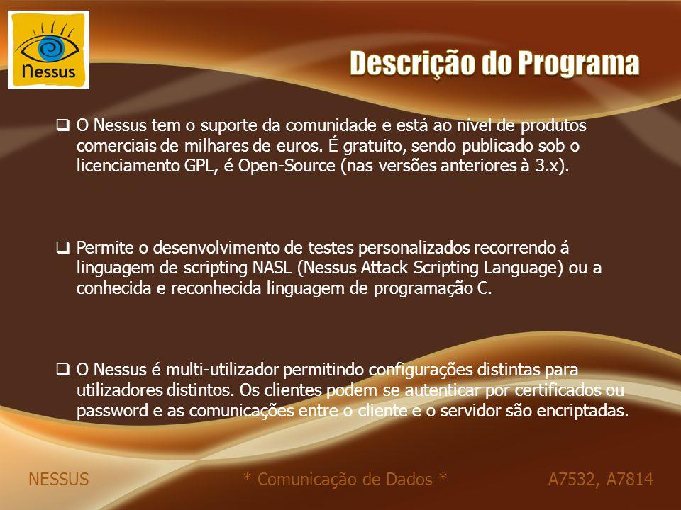  O Nessus tem o suporte da comunidade e está ao nível de produtos comerciais de milhares de euros. É gratuito, sendo publicado sob o licenciamento GP