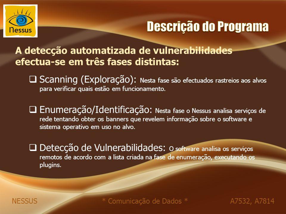  Scanning (Exploração): Nesta fase são efectuados rastreios aos alvos para verificar quais estão em funcionamento.  Enumeração/Identificação: Nesta