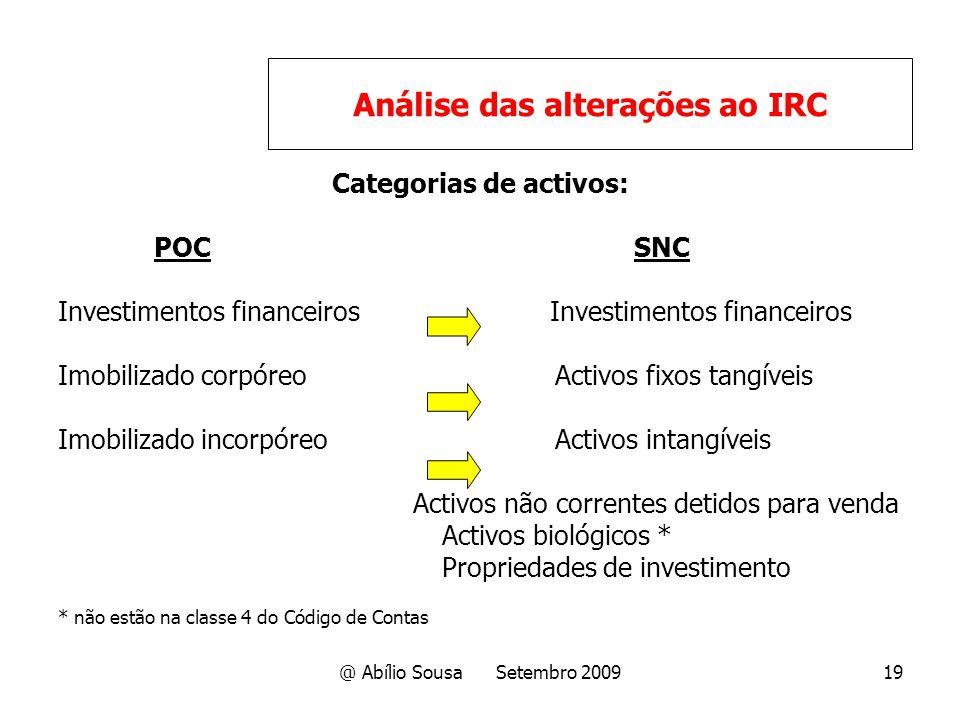 @ Abílio Sousa Setembro 200919 Categorias de activos: POCSNC Investimentos financeiros Imobilizado corpóreo Activos fixos tangíveis Imobilizado incorp