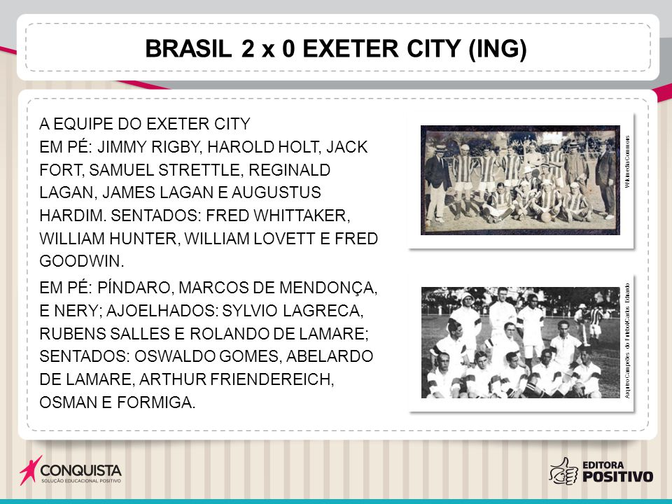 BRASIL 2 x 0 EXETER CITY (ING) A EQUIPE DO EXETER CITY EM PÉ: JIMMY RIGBY, HAROLD HOLT, JACK FORT, SAMUEL STRETTLE, REGINALD LAGAN, JAMES LAGAN E AUGU
