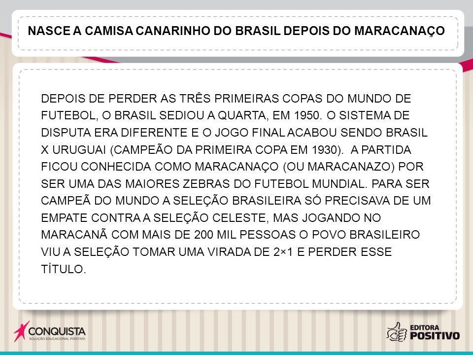 NASCE A CAMISA CANARINHO DO BRASIL DEPOIS DO MARACANAÇO DEPOIS DE PERDER AS TRÊS PRIMEIRAS COPAS DO MUNDO DE FUTEBOL, O BRASIL SEDIOU A QUARTA, EM 1950.