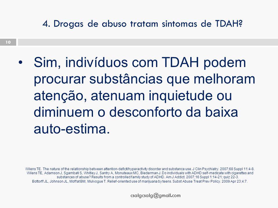 4. Drogas de abuso tratam sintomas de TDAH.