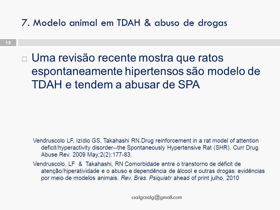 7. Modelo animal em TDAH & abuso de drogas  Uma revisão recente mostra que ratos espontaneamente hipertensos são modelo de TDAH e tendem a abusar de