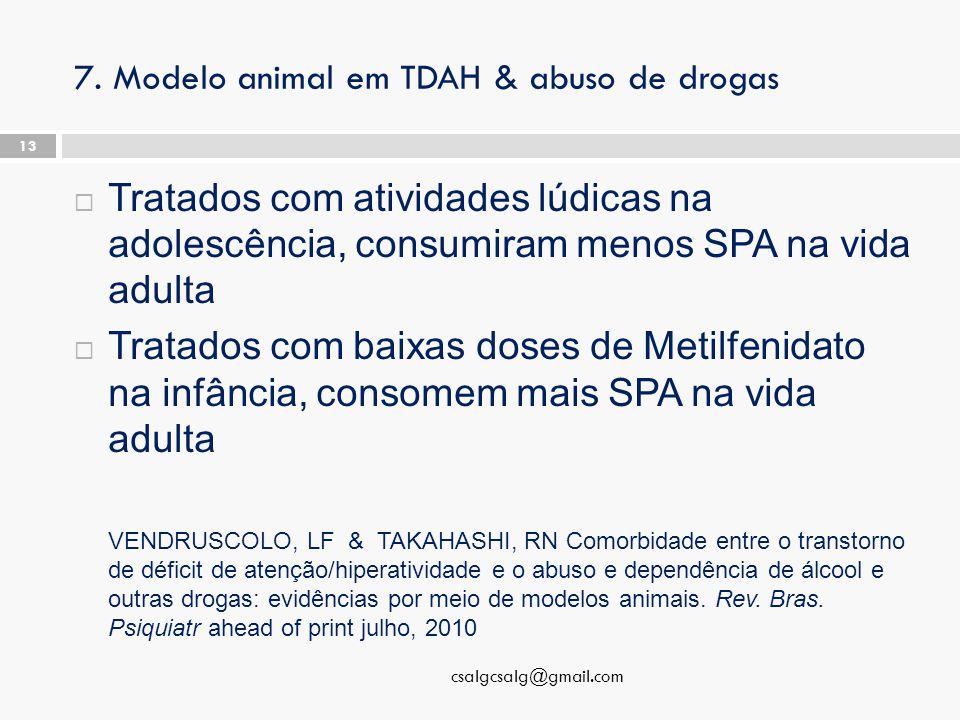 7. Modelo animal em TDAH & abuso de drogas  Tratados com atividades lúdicas na adolescência, consumiram menos SPA na vida adulta  Tratados com baixa