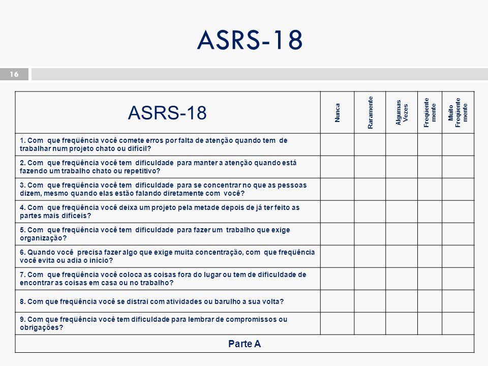 ASRS-18 16 ASRS-18 Nunca Raramente Algumas Vezes Freqüente mente Muito Freqüente mente 1.
