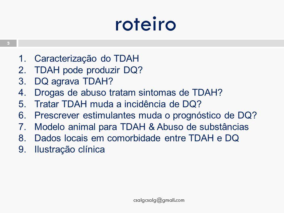 roteiro csalgcsalg@gmail.com 3 1.Caracterização do TDAH 2.TDAH pode produzir DQ.