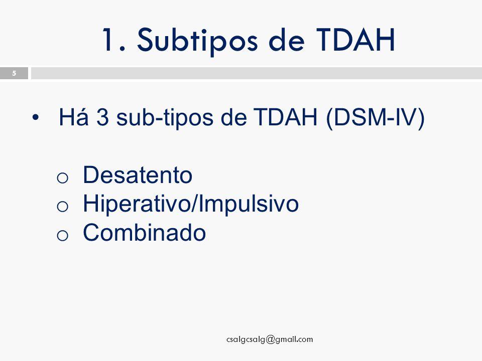 1. Subtipos de TDAH csalgcsalg@gmail.com 5 Há 3 sub-tipos de TDAH (DSM-IV) o Desatento o Hiperativo/Impulsivo o Combinado