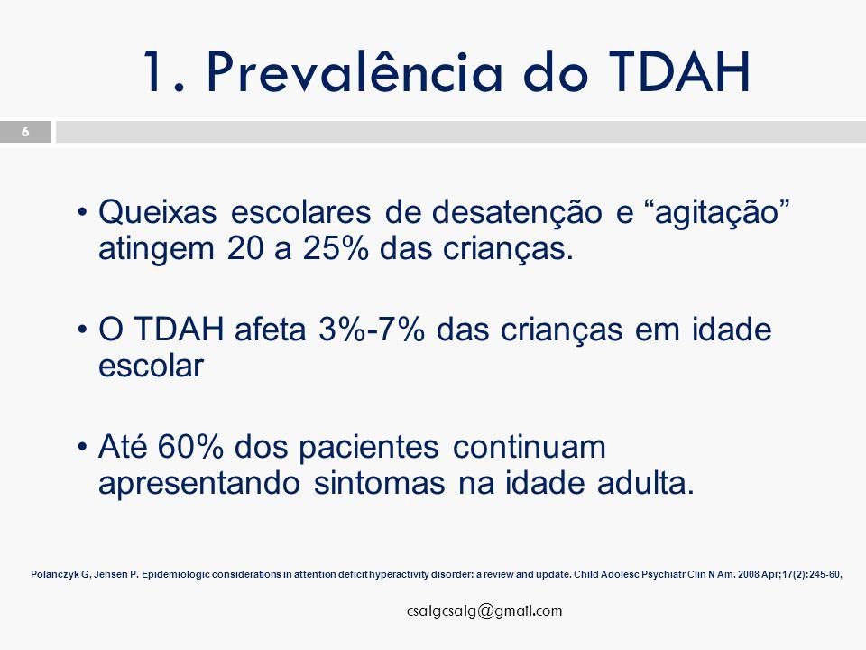 """1. Prevalência do TDAH csalgcsalg@gmail.com 6 Queixas escolares de desatenção e """"agitação"""" atingem 20 a 25% das crianças. O TDAH afeta 3%-7% das crian"""