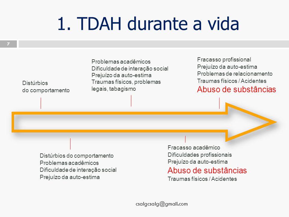 1. TDAH durante a vida csalgcsalg@gmail.com 7 Distúrbios do comportamento Distúrbios do comportamento Problemas acadêmicos Dificuldade de interação so