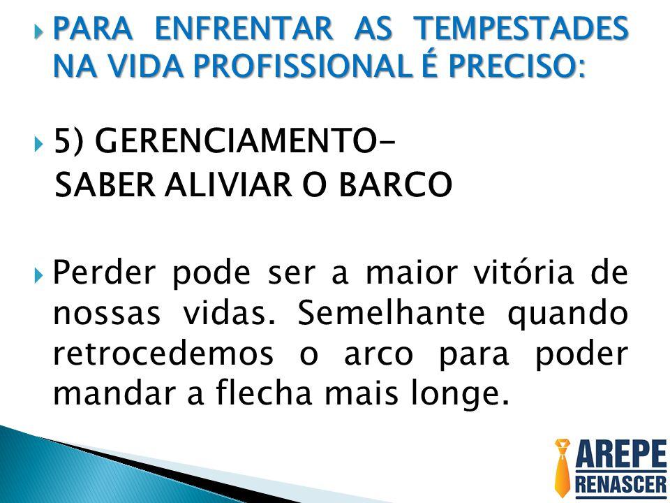  PARA ENFRENTAR AS TEMPESTADES NA VIDA PROFISSIONAL É PRECISO:  5) GERENCIAMENTO- SABER ALIVIAR O BARCO  Perder pode ser a maior vitória de nossas