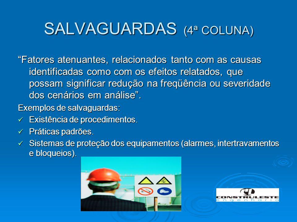 """SALVAGUARDAS (4ª COLUNA) """"Fatores atenuantes, relacionados tanto com as causas identificadas como com os efeitos relatados, que possam significar redu"""