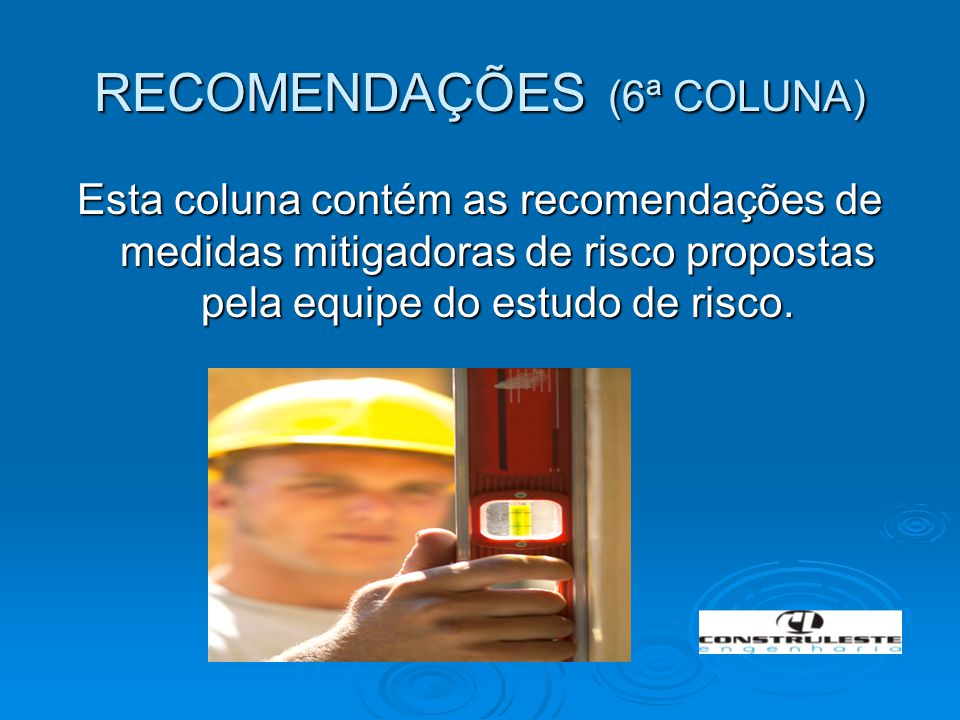 RECOMENDAÇÕES (6ª COLUNA) Esta coluna contém as recomendações de medidas mitigadoras de risco propostas pela equipe do estudo de risco.