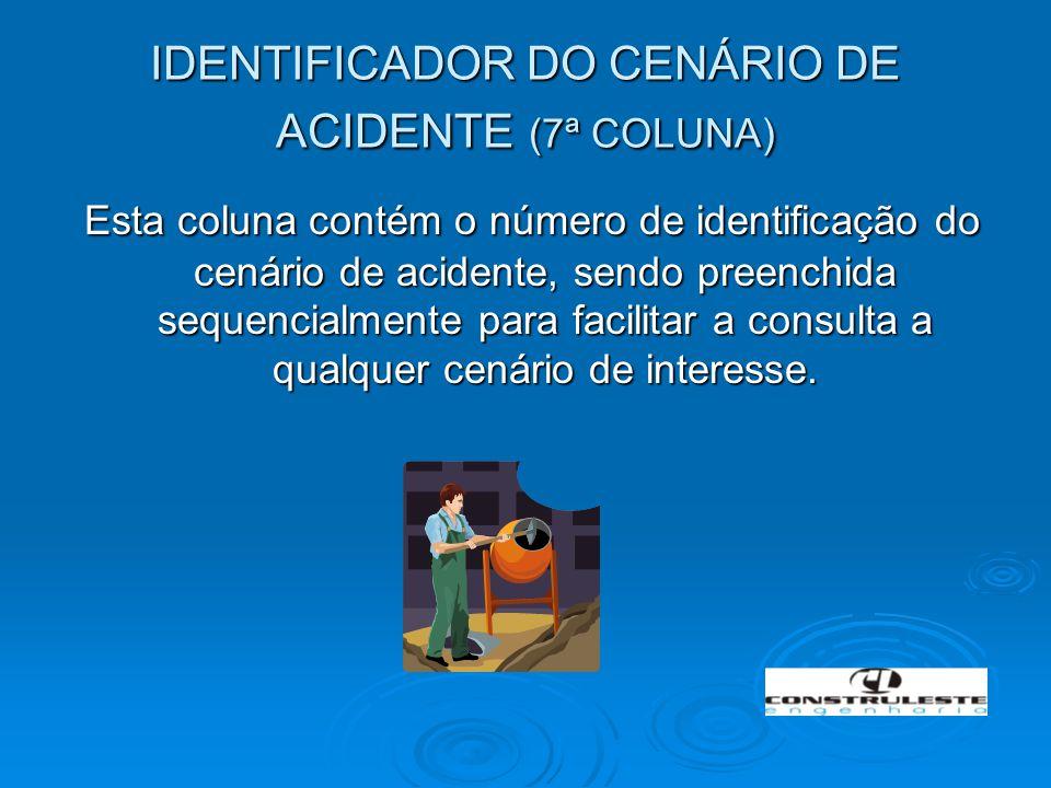 IDENTIFICADOR DO CENÁRIO DE ACIDENTE (7ª COLUNA) Esta coluna contém o número de identificação do cenário de acidente, sendo preenchida sequencialmente