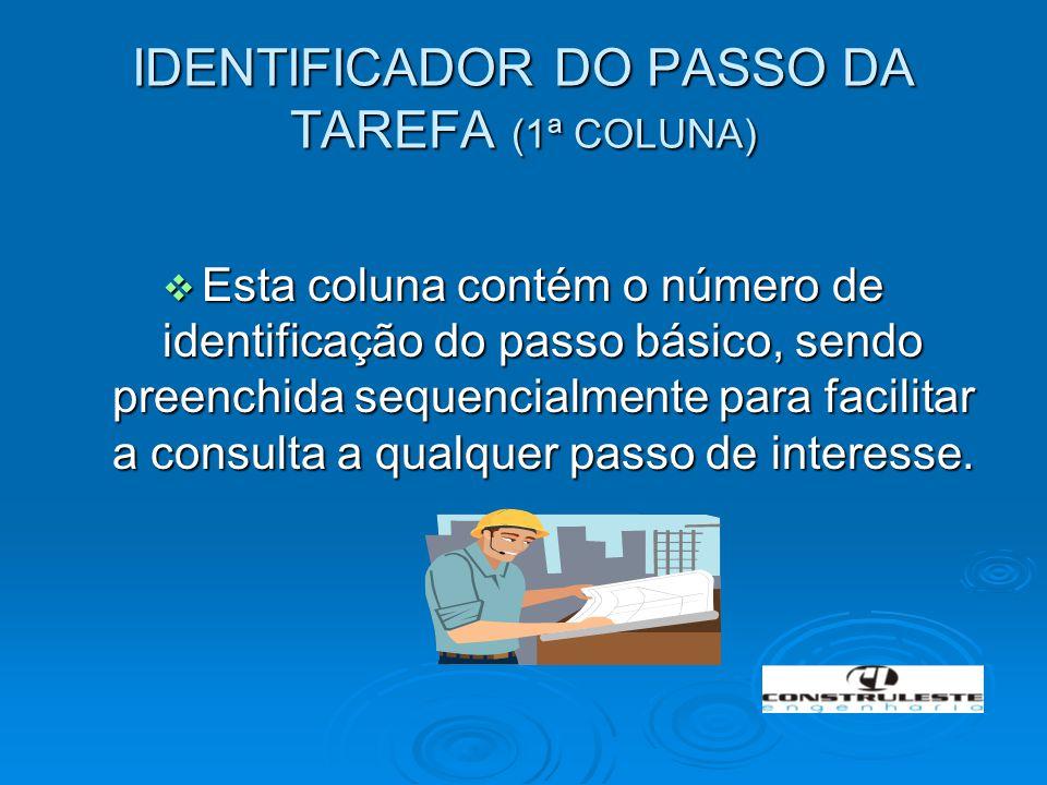 IDENTIFICADOR DO PASSO DA TAREFA (1ª COLUNA)  Esta coluna contém o número de identificação do passo básico, sendo preenchida sequencialmente para fac