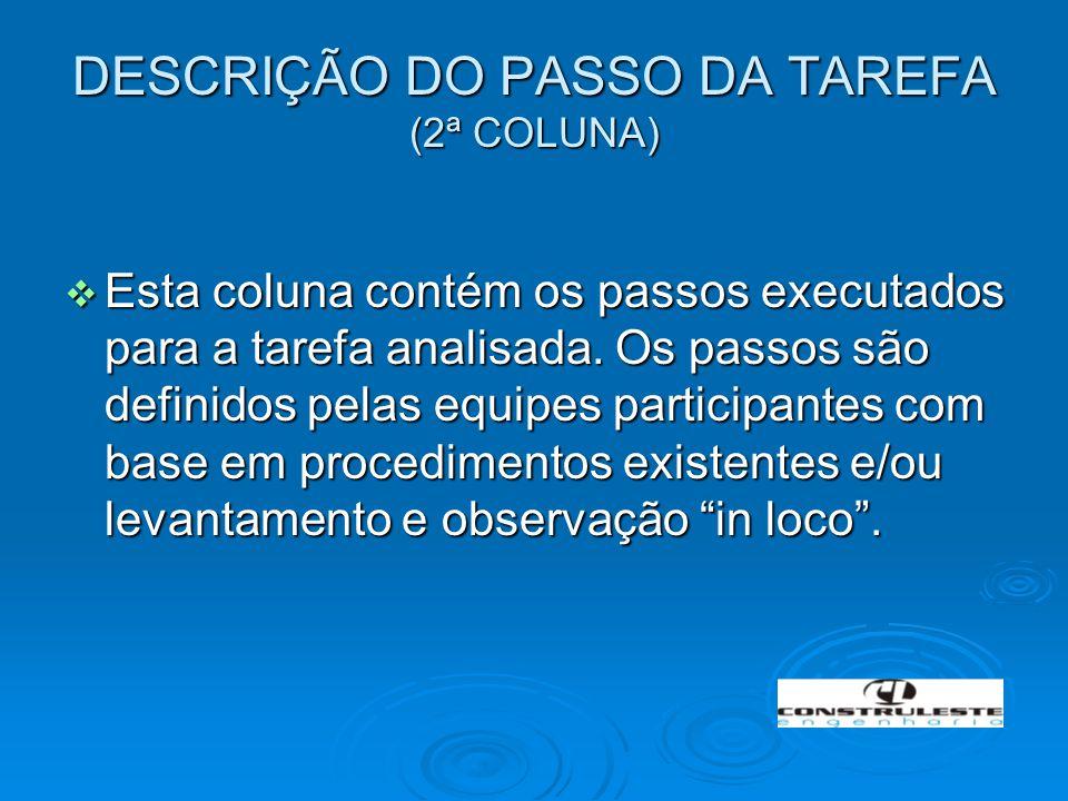 DESCRIÇÃO DO PASSO DA TAREFA (2ª COLUNA)  Esta coluna contém os passos executados para a tarefa analisada. Os passos são definidos pelas equipes part