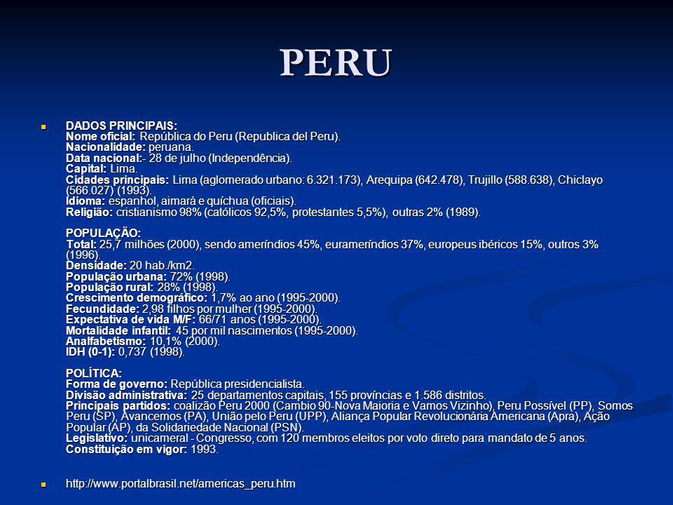 PERU DADOS PRINCIPAIS: Nome oficial: República do Peru (Republica del Peru).