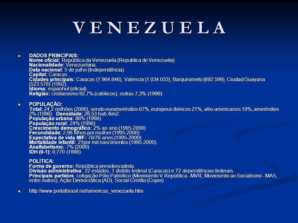 V E N E Z U E L A DADOS PRINCIPAIS: Nome oficial: República da Venezuela (Republica de Venezuela).