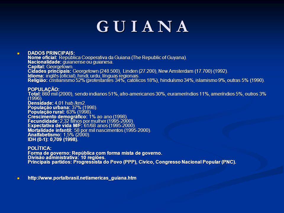 G U I A N A DADOS PRINCIPAIS: Nome oficial: República Cooperativa da Guiana (The Republic of Guyana).