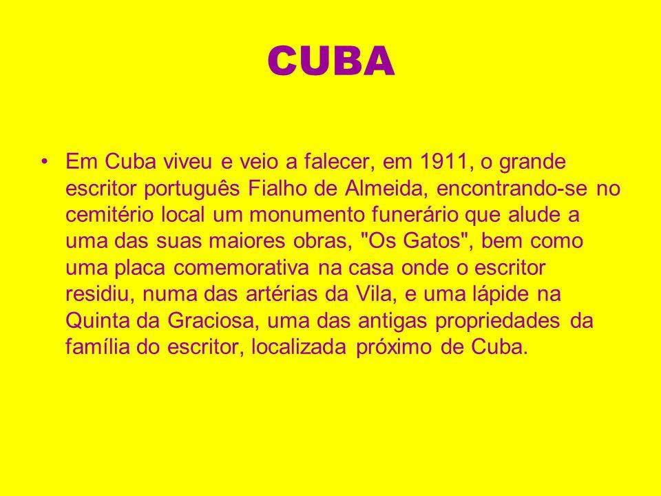 CUBA Os inúmeros achados arqueológicos são testemunho da ocupação do espaço onde actualmente se situa a Vila de Cuba desde a pré-história, sendo també