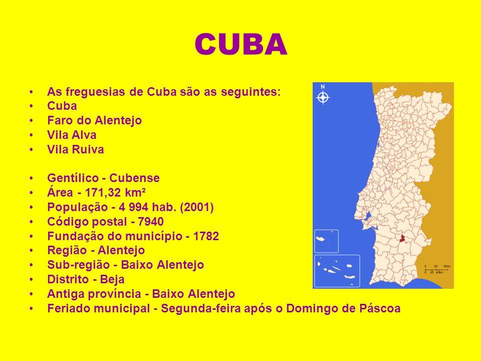 CUBA As freguesias de Cuba são as seguintes: Cuba Faro do Alentejo Vila Alva Vila Ruiva Gentílico - Cubense Área - 171,32 km² População - 4 994 hab.