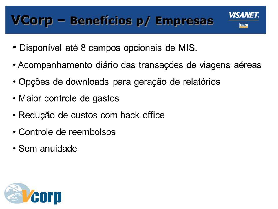 VCorp – Benefícios p/ Empresas Disponível até 8 campos opcionais de MIS.