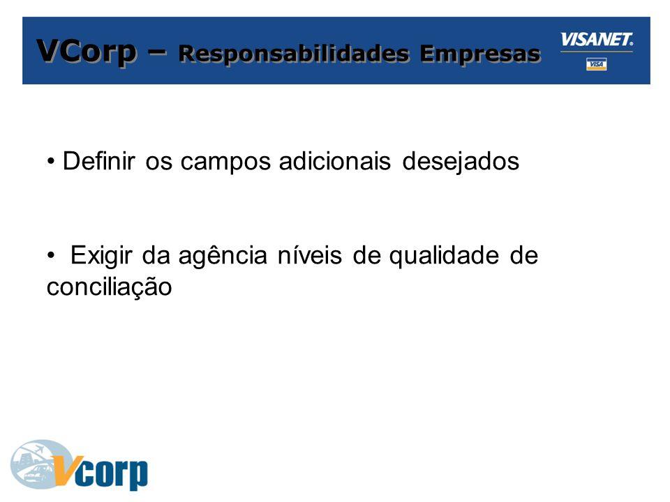VCorp – Responsabilidades Empresas Definir os campos adicionais desejados Exigir da agência níveis de qualidade de conciliação