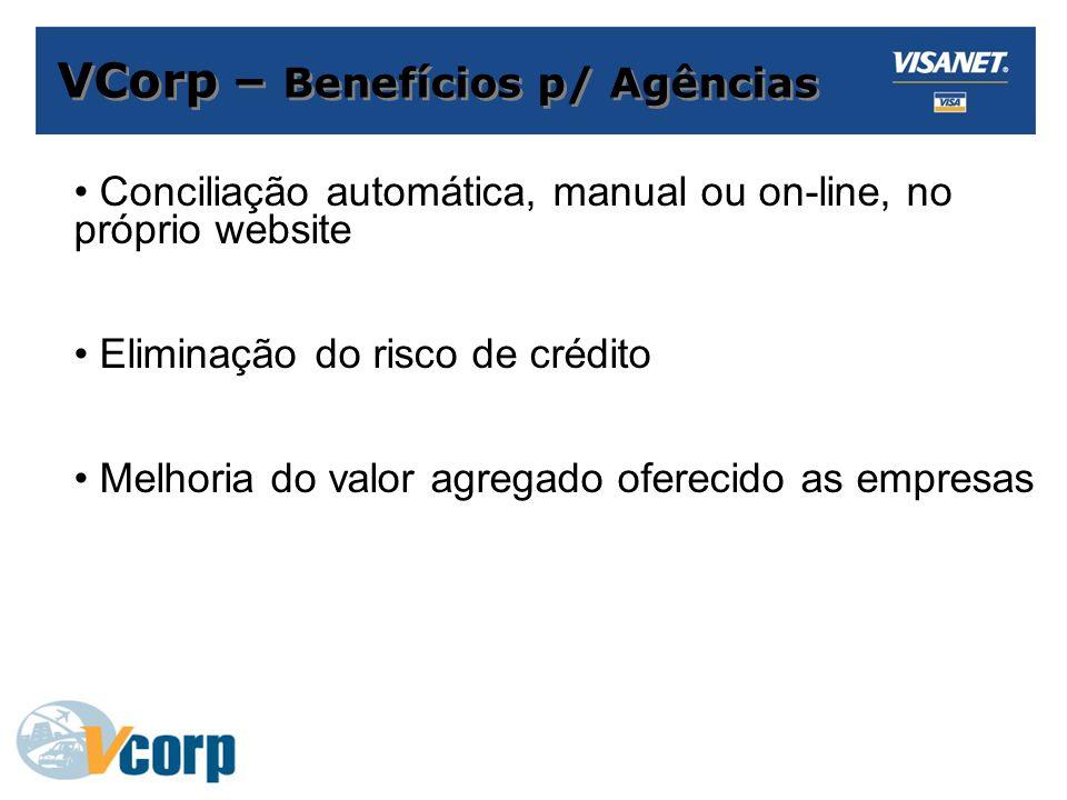 VCorp – Benefícios p/ Agências Conciliação automática, manual ou on-line, no próprio website Eliminação do risco de crédito Melhoria do valor agregado oferecido as empresas