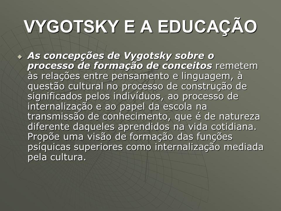 VYGOTSKY E A EDUCAÇÃO  As concepções de Vygotsky sobre o processo de formação de conceitos remetem às relações entre pensamento e linguagem, à questã