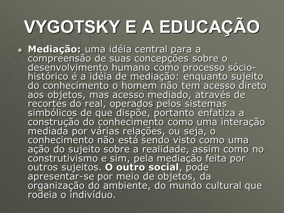 VYGOTSKY E A EDUCAÇÃO  Mediação: uma idéia central para a compreensão de suas concepções sobre o desenvolvimento humano como processo sócio- históric