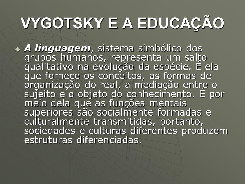 VYGOTSKY E A EDUCAÇÃO  A linguagem, sistema simbólico dos grupos humanos, representa um salto qualitativo na evolução da espécie. É ela que fornece o