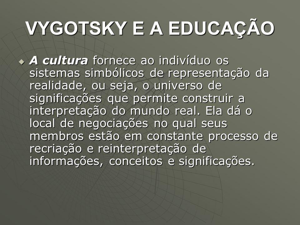VYGOTSKY E A EDUCAÇÃO  A cultura fornece ao indivíduo os sistemas simbólicos de representação da realidade, ou seja, o universo de significações que
