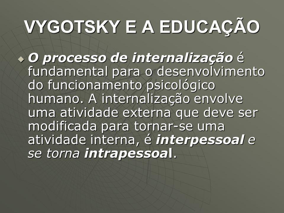 VYGOTSKY E A EDUCAÇÃO  O processo de internalização é fundamental para o desenvolvimento do funcionamento psicológico humano. A internalização envolv