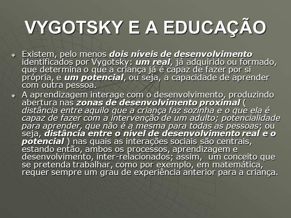 VYGOTSKY E A EDUCAÇÃO  Existem, pelo menos dois níveis de desenvolvimento identificados por Vygotsky: um real, já adquirido ou formado, que determina
