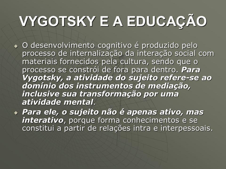 VYGOTSKY E A EDUCAÇÃO  O desenvolvimento cognitivo é produzido pelo processo de internalização da interação social com materiais fornecidos pela cult