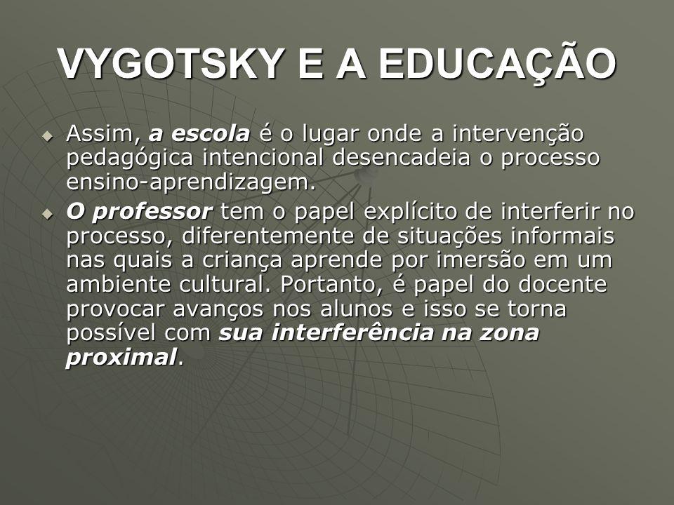 VYGOTSKY E A EDUCAÇÃO  Assim, a escola é o lugar onde a intervenção pedagógica intencional desencadeia o processo ensino-aprendizagem.  O professor
