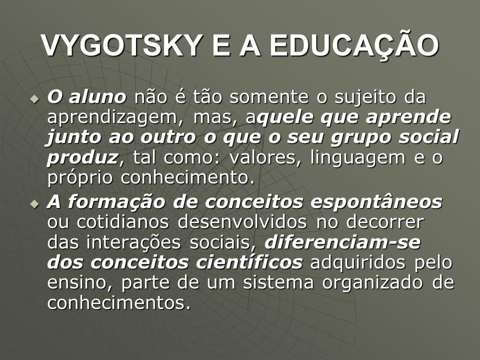 VYGOTSKY E A EDUCAÇÃO  O aluno não é tão somente o sujeito da aprendizagem, mas, aquele que aprende junto ao outro o que o seu grupo social produz, t