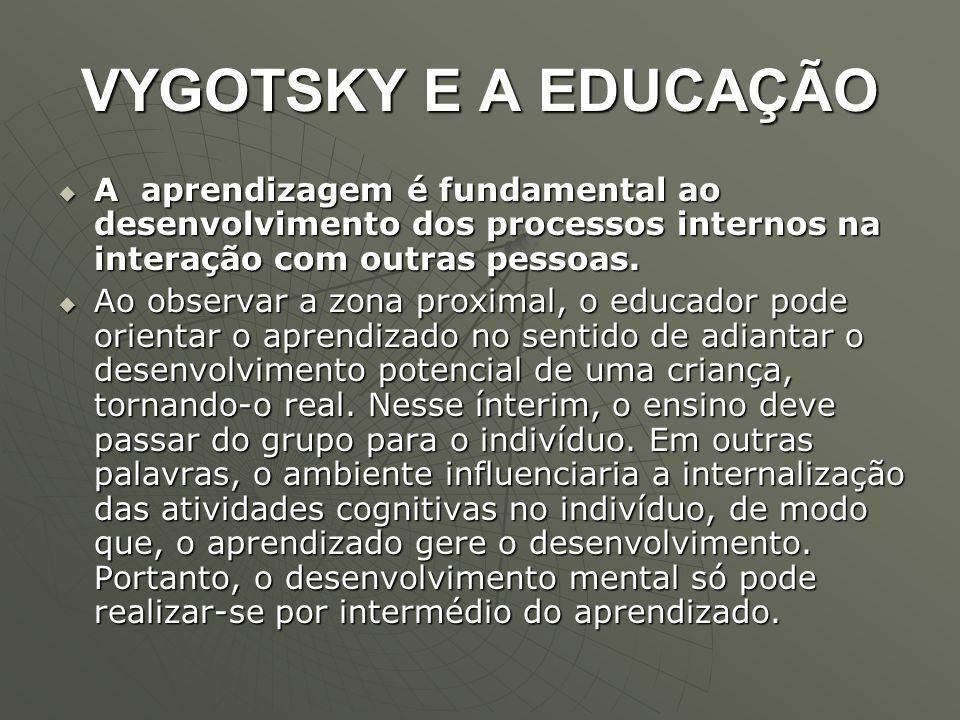 VYGOTSKY E A EDUCAÇÃO  A aprendizagem é fundamental ao desenvolvimento dos processos internos na interação com outras pessoas.  Ao observar a zona p