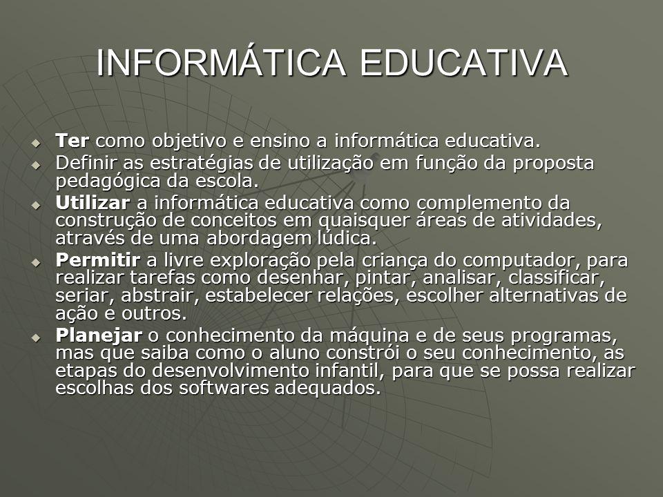 INFORMÁTICA EDUCATIVA  Ter como objetivo e ensino a informática educativa.  Definir as estratégias de utilização em função da proposta pedagógica da