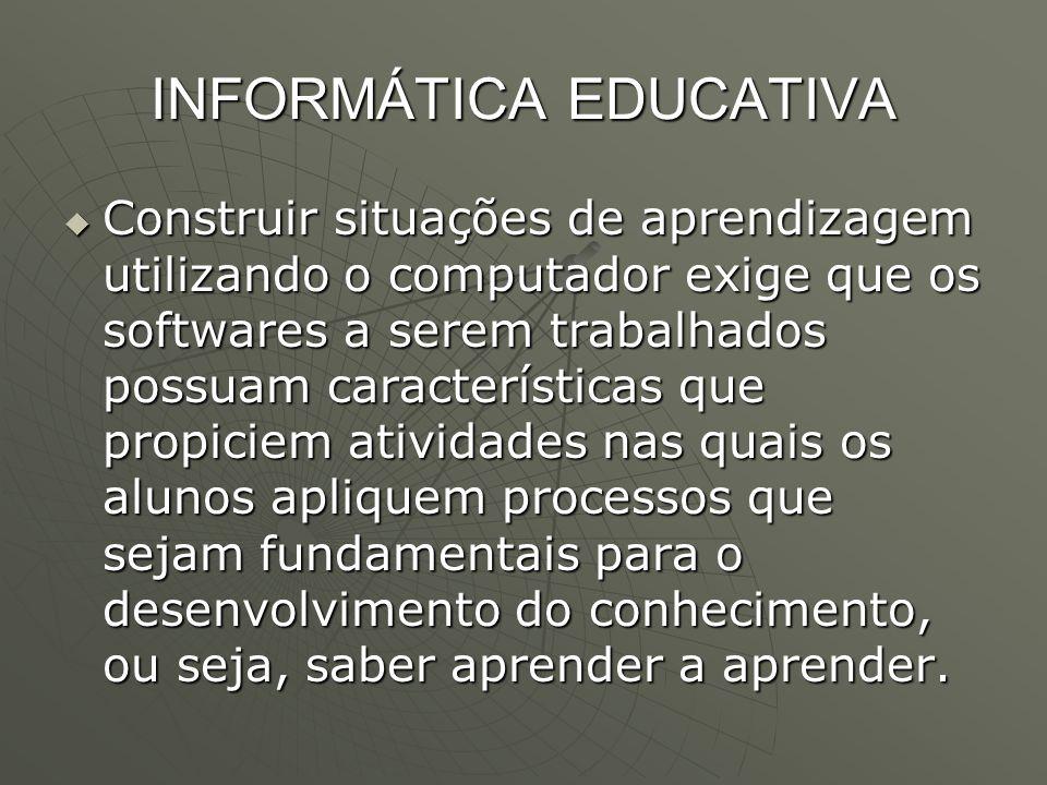 INFORMÁTICA EDUCATIVA  Construir situações de aprendizagem utilizando o computador exige que os softwares a serem trabalhados possuam características