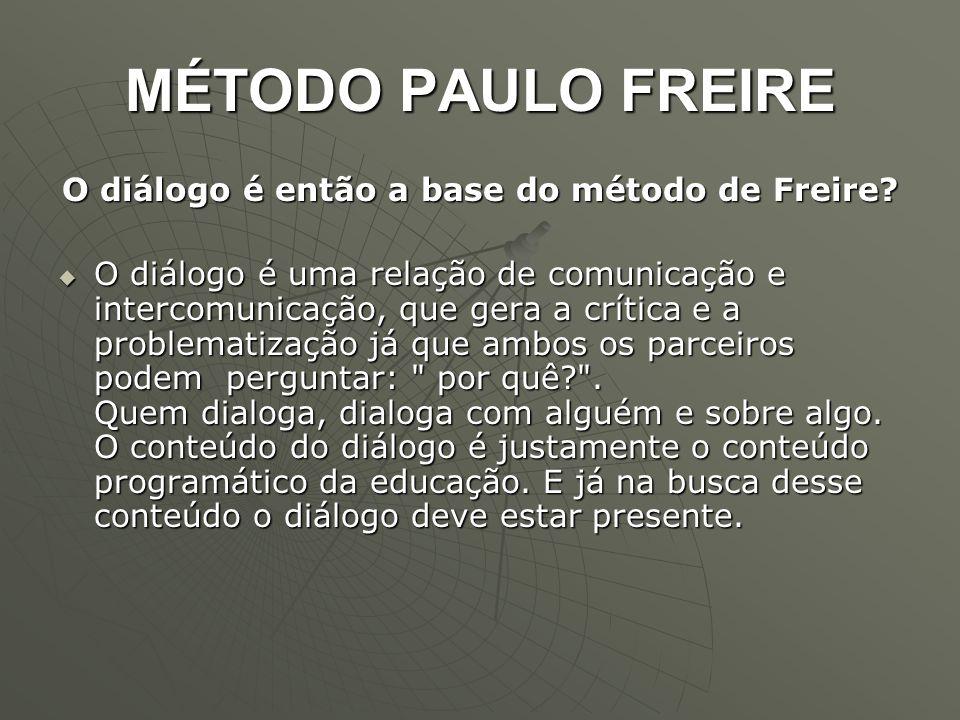 MÉTODO PAULO FREIRE O diálogo é então a base do método de Freire?  O diálogo é uma relação de comunicação e intercomunicação, que gera a crítica e a