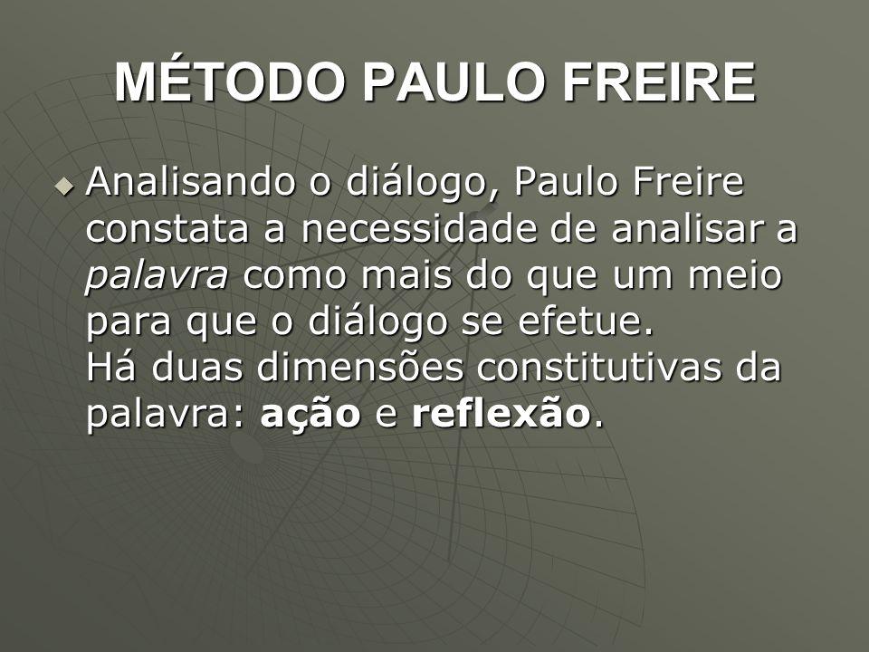 MÉTODO PAULO FREIRE  Analisando o diálogo, Paulo Freire constata a necessidade de analisar a palavra como mais do que um meio para que o diálogo se e