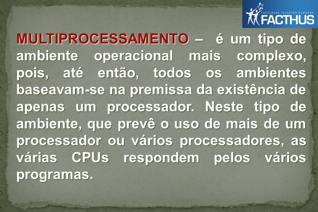 MULTIPROCESSAMENTO – é um tipo de ambiente operacional mais complexo, pois, até então, todos os ambientes baseavam-se na premissa da existência de apenas um processador.